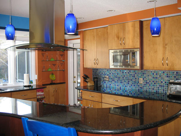 slab cabinets blue orange kitchen walls cabinet cures inc